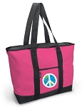 Deluxe Pink Peace Sign Tote Bag