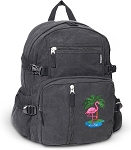 Flamingo Canvas Backpack Black