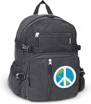 Peace Sign Canvas Backpack Black
