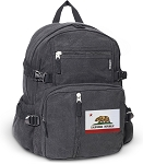 California Flag Canvas Backpack Black