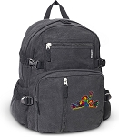 Peace Frogs Canvas Backpack Black