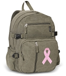 Pink Ribbon Canvas Backpack Olive