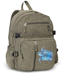 Turtle Canvas Backpack Olive