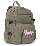 Cute Horse Canvas Backpack Olive