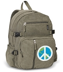 Peace Sign Canvas Backpack Olive
