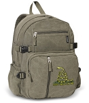Don't Tread on Me Canvas Backpack Olive