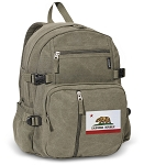 California Flag Canvas Backpack Olive
