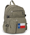 Texas Flag Canvas Backpack Olive
