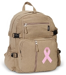 Pink Ribbon Canvas Backpack Tan