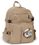 Baseball Canvas Backpack Tan