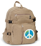 Peace Sign Canvas Backpack Tan
