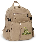 Don't Tread on Me Canvas Backpack Tan