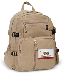 California Flag Canvas Backpack Tan