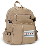 Chicago Flag Canvas Backpack Tan