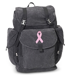 Pink Ribbon LARGE Canvas Backpack Black