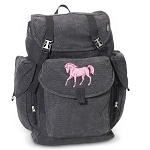 Cute Horse LARGE Canvas Backpack Black
