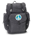 Peace Sign LARGE Canvas Backpack Black