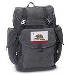 California Flag LARGE Canvas Backpack Black