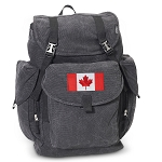 Canadian Flag LARGE Canvas Backpack Black