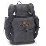 Peace Frogs LARGE Canvas Backpack Black