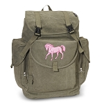 Cute Horse LARGE Canvas Backpack Olive