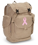 Pink Ribbon LARGE Canvas Backpack Tan