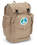 Peace Sign LARGE Canvas Backpack Tan