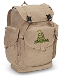 Don't Tread on Me LARGE Canvas Backpack Tan