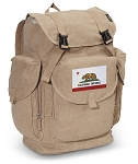 California Flag LARGE Canvas Backpack Tan