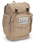 Chicago Flag LARGE Canvas Backpack Tan