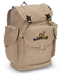 Peace Frogs LARGE Canvas Backpack Tan