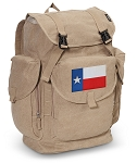 Texas Flag LARGE Canvas Backpack Tan