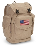American Flag LARGE Canvas Backpack Tan