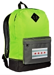 Chicago Flag Backpack Classic Style Fashion Green