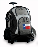 Texas Flag Rolling Backpack Black Gray