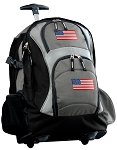 American Flag Rolling Backpack Black Gray