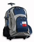 Texas Flag Rolling Backpack Navy
