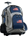 American Flag Rolling Backpack Navy