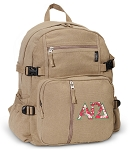 Alpha Gamma Canvas Backpack Tan