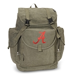 University of Alabama LARGE Canvas Backpack Olive