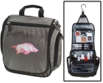Arkansas Razorbacks Toiletry Bag or Womens University of Arkansas Shaving Kit Organizer for Him Gray