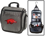 Arkansas Razorbacks Toiletry Bag or University of Arkansas Shaving Kit Organizer for Him Gray