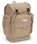 University of Arkansas LARGE Canvas Backpack Tan