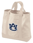Auburn University Tote Bags NATURAL CANVAS