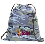 ASU Drawstring Backpack Blue Camo