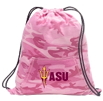ASU Drawstring Backpack Pink Camo