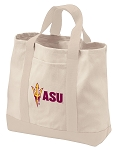 Arizona State Tote Bags NATURAL CANVAS