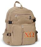 Chi O Canvas Backpack Tan
