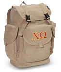 Chi O LARGE Canvas Backpack Tan