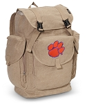 Clemson LARGE Canvas Backpack Tan